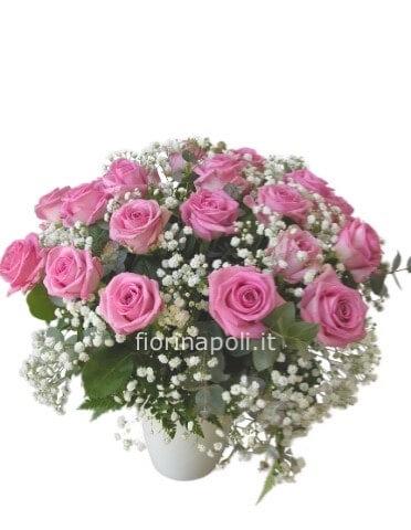 Consegna Fiori On Line.Bouquet Di Rose Rosa E Gypsofila Fiori A Napoli Invio Fiori A